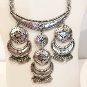 Large Brushed Silver Statement Necklace